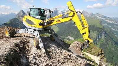 Remotely operated walking excavator on Jetson